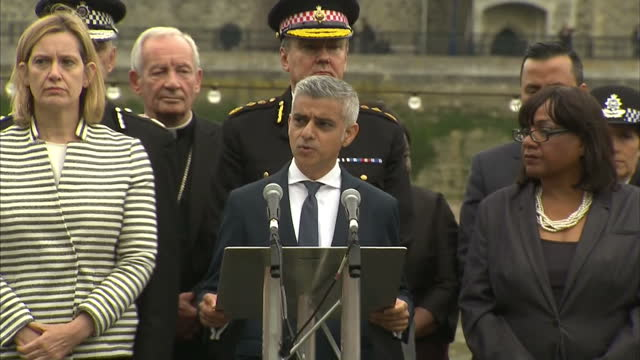exterior shots of mayor of london sadiq khan making a speech at the vigil to honour the victims of the london terror attacks flanked on stage by... - sadiq khan stock videos & royalty-free footage
