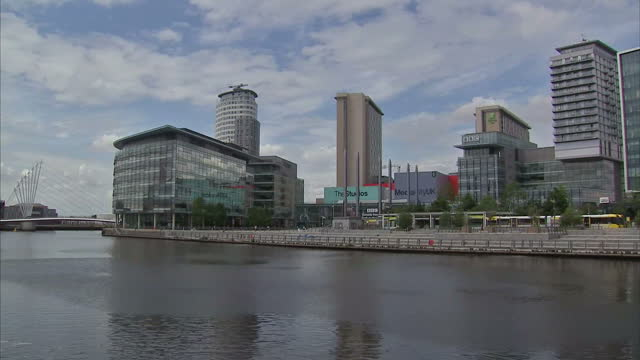 exterior shots of mediacityuk complex and broadcasting studios. on july 15, 2015 in manchester, england. - salford quays stock videos & royalty-free footage