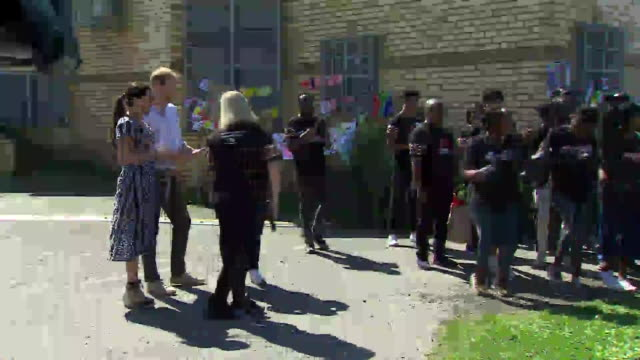 exterior shots of meghan and prince harry receiving a warm welcome from members of the justice desk as prince harry steps up to make a speech outside... - sussex stock videos and b-roll footage