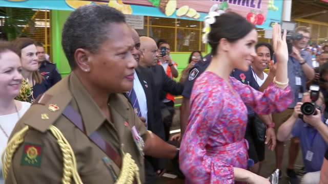 exterior shots of meghan duchess of leaving the suva market due to security reasons and overcrowding on 24th october 2018 in suva fiji - fiji stock videos & royalty-free footage