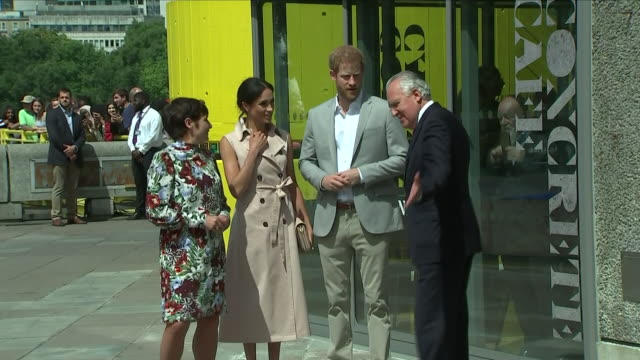 Exterior shots of Meghan Duchess of Sussex and Prince Harry Duke of Sussex visiting the Nelson Mandela Centenary Exhibition at Southbank Centre on...