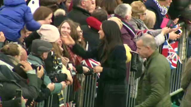 Exterior shots of Meghan Markle greeting crowds outside Edinburgh Castle>> on February 13 2018 in Edinburgh Scotland