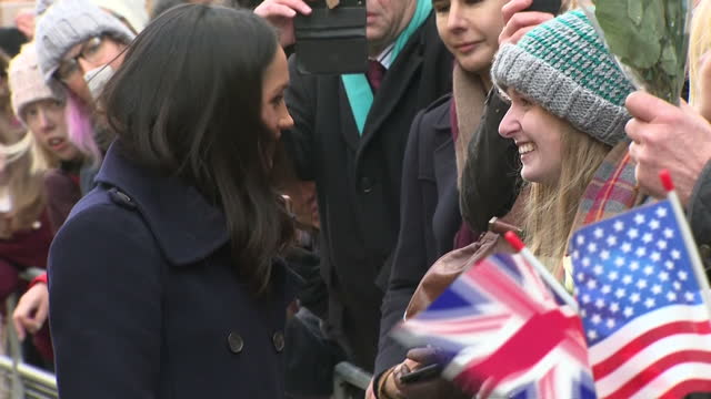 Exterior shots of Meghan Markle greeting members of the public lining the street on December 01 2017 in Nottingham United Kingdom