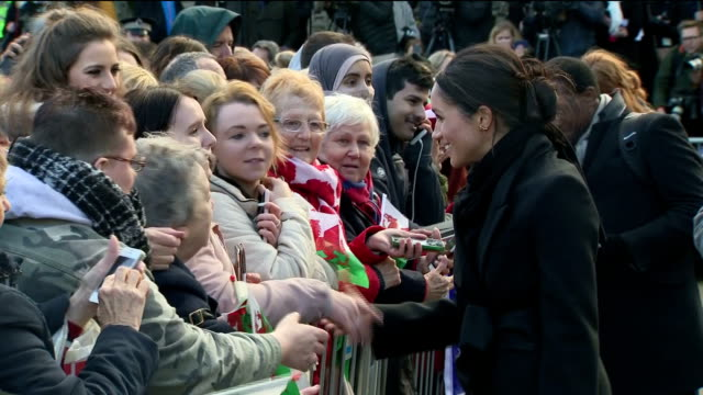 Exterior shots of Meghan Markle greeting members of the public outside Cardiff Castle>> on January 18 2018 in Cardiff Wales