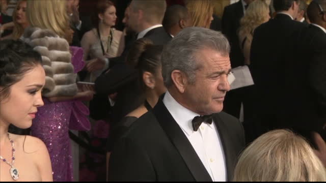Exterior shots of Mel Gibson speaking to reporters on the Oscars red carpet on February 26 2017 in Los Angeles California