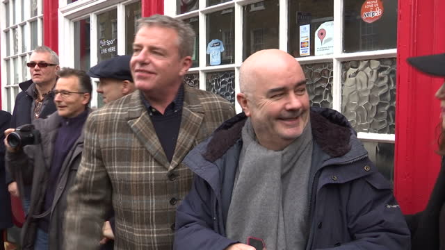 exterior shots of members of madness outside the dublin castle pub in camden including graham mcpherson, aka suggs, mike barson and chris foreman as... - レゲエ点の映像素材/bロール