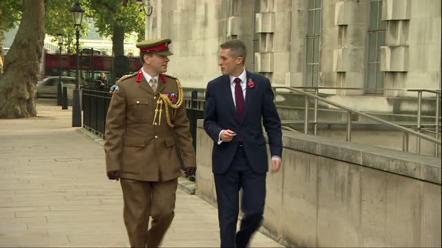 stockvideo's en b-roll-footage met exterior shots of members of the media and ministry of defence staff including stephen lovegrove permanent secretary to the mod and sir gordon... - ministerie van defensie