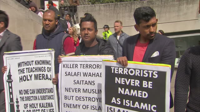 Exterior shots of members of the Muslim community holding a protest against Islamic extremism near the scene of the London Bridge terror attack on...