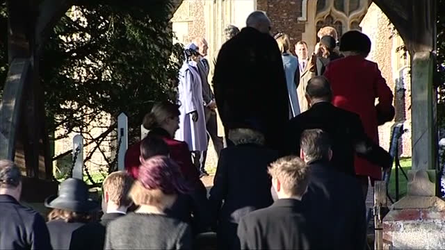 Exterior shots of members of the Royal Family arriving at Church on Christmas Day at Sandringham Royal Family attend church on Christmas Day on...