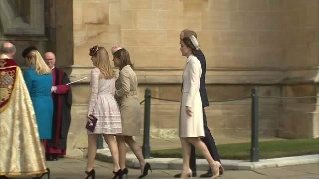exterior shots of members of the royal family arriving at st george's chapel to attend the easter sunday service, including prince andrew, princess... - easter stock videos & royalty-free footage
