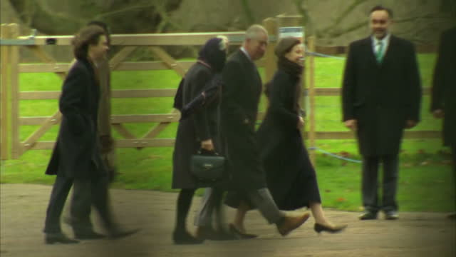 Exterior shots of members of the Royal family arriving at St Mary Magdalene Church for the Christmas Day service including shots of Prince Edward...