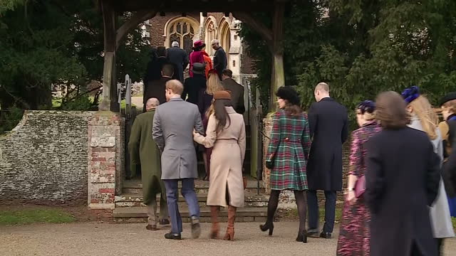 exterior shots of members of the royal family arriving at st mary magdalene church to attend the christmas day service including shots of prince... - fiancé stock videos and b-roll footage