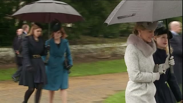 stockvideo's en b-roll-footage met exterior shots of members of the royal family departing from sandringham church after attending the christmas morning service including prince andrew... - 2015