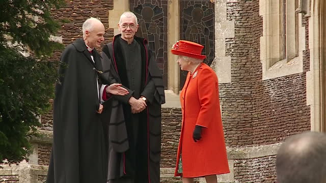 exterior shots of members of the royal family departing from st mary magdalene church after attending the christmas day service including shots of... - fiancé stock videos and b-roll footage