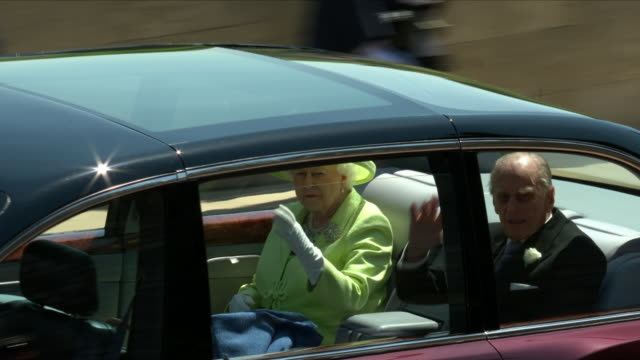 Exterior shots of members of the Royal Family departing Windsor Castle and getting into waiting cars including The Queen Prince Philip Kate Middleton...