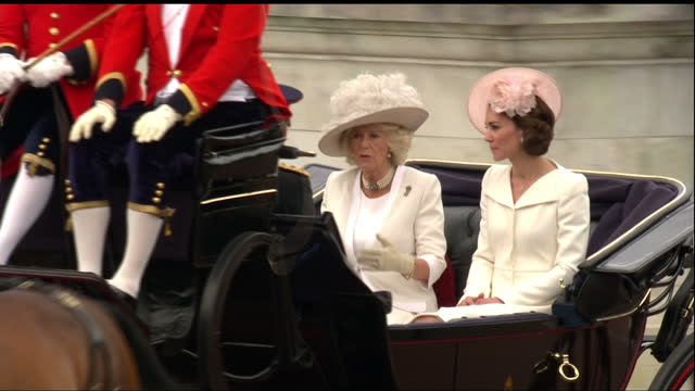 exterior shots of members of the royal family including princess beatrice and princess eugenie sophie countess of wessex camilla duchess of cornwall... - queen royal person stock videos & royalty-free footage