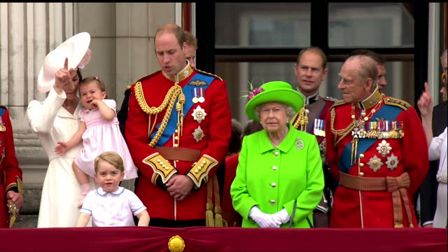 Exterior shots of members of the Royal Family including the Queen Prince Philip Prince William Catherine Duchess of Cambridge Princess Charlotte and...