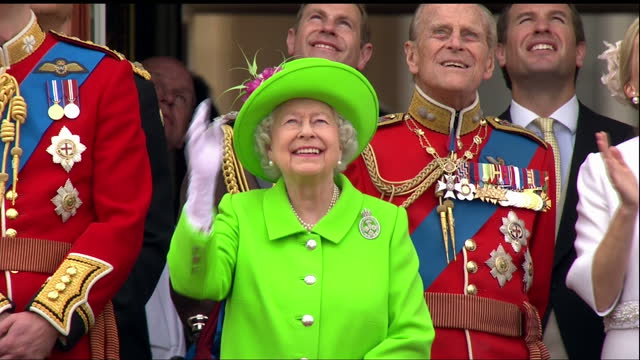 exterior shots of members of the royal family including the queen prince philip prince william catherine duchess of cambridge princess charlotte and... - queen royal person stock videos & royalty-free footage