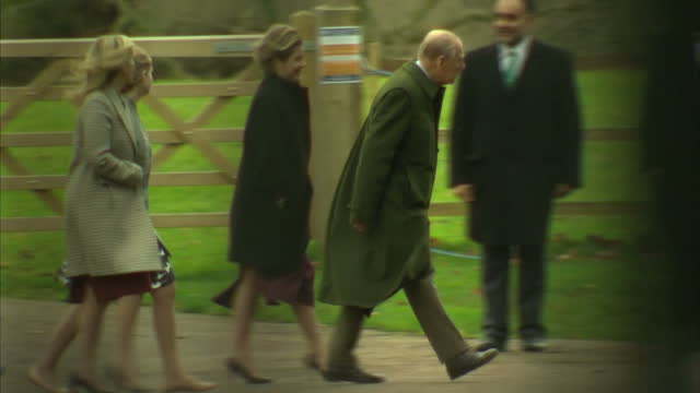 exterior shots of members of the royal family walking to st mary magdalene church to attend the christmas day service including prince andrew... - lady louise windsor stock videos and b-roll footage