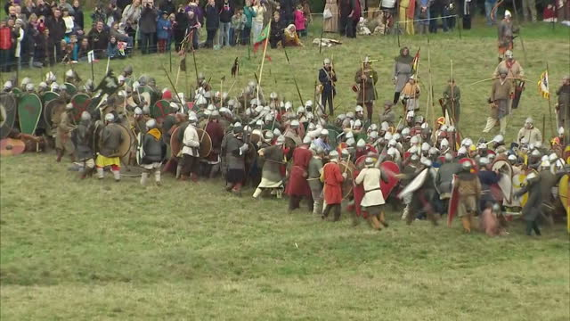 exterior shots of men in anglo saxon and norman military uniforms reenacting the 1066 battle of hastings as part of the 950th anniversary on october... - battle of hastings stock videos & royalty-free footage