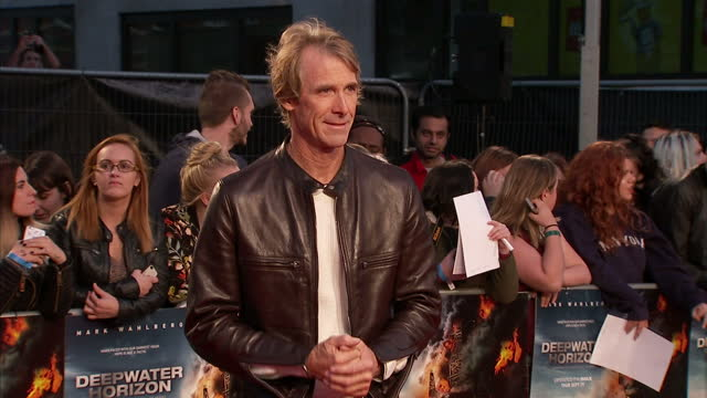 Exterior shots of Michael Bay posing for photos on the red carpet at the premiere of Deepwater Horizon at Leicester Square on September 26 2016 in...