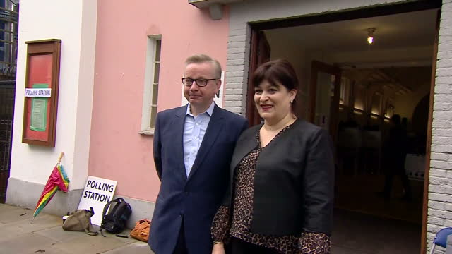 exterior shots of michael gove mp of the vote leave campaign arriving at a polling station with his wife sarah vine to cast votes on the uk eu... - vine stock videos and b-roll footage