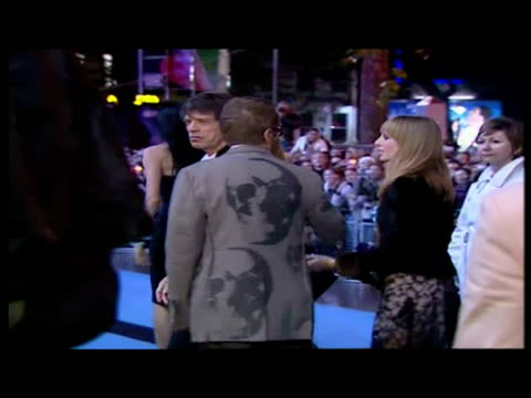 exterior shots of mick jagger arriving on the red carpet at alfie film premiere sky news archival content of rolling stones at various locations on... - audio electronics stock videos & royalty-free footage