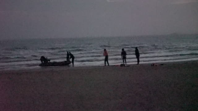 exterior shots of migrants on beach attempting to cross the english channel on 10th august 2020 calais, france. - english channel stock videos & royalty-free footage