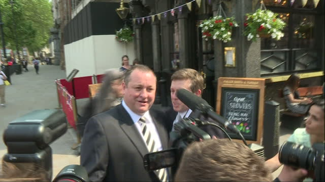 Exterior shots of Mike Ashley Founder Sports Direct Owner of Newcastle United FC walk out of pub and walk to Select Committee Meeting exwife Linda...