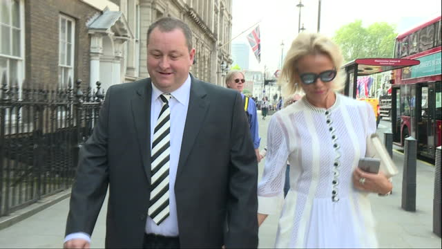Exterior shots of Mike Ashley Founder Sports Direct Owner of Newcastle United FC and exwife Linda Ashley walk into pub before select committee...