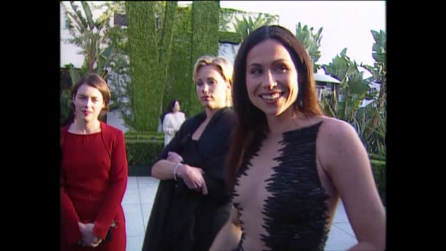 exterior shots of minnie driver speaking to the press on the red carpet for the 71st academy awards at the dorothy chandler pavilion on 21st march... - academy awards stock videos & royalty-free footage