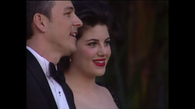 exterior shots of monica lewinsky on the red carpet for the 71st academy awards at the dorothy chandler pavilion on 21st march 1999 in los angeles... - dorothy chandler pavilion stock videos and b-roll footage
