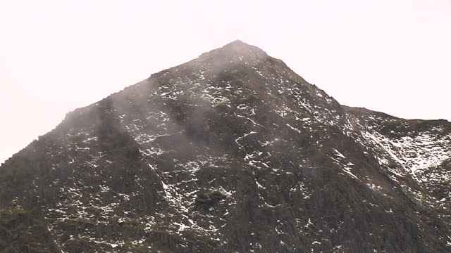 Exterior shots of Mt Snowdon and surrounding landscape and helicopter flying in fog on December 02 2016 in Llanberis United Kingdom