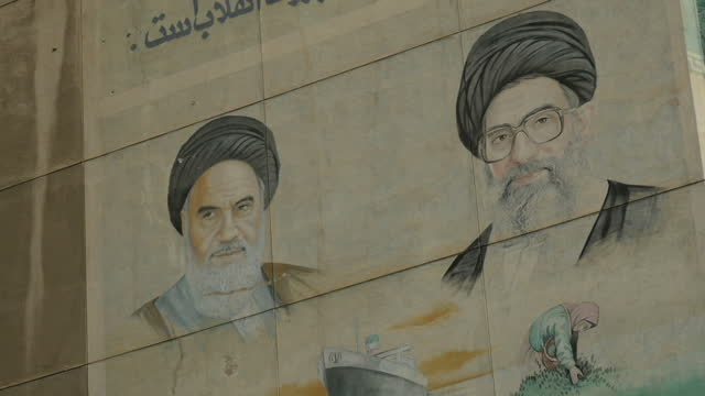 exterior shots of murals of the ayatollah khomeini around tehran. on july 29, 2016 in tehran, iran. - combustibile fossile video stock e b–roll
