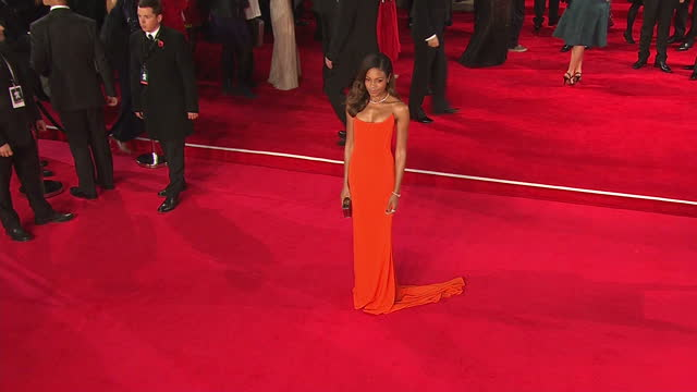 exterior shots of naomie harris attending the royal world premiere of 'spectre' at royal albert hall on october 26 2015 in london england - spectre 2015 film stock videos and b-roll footage