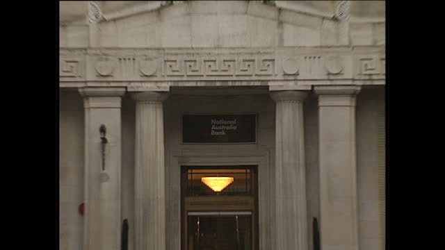 Exterior shots of National Australia Bank and signs on January 26 1989 in London England