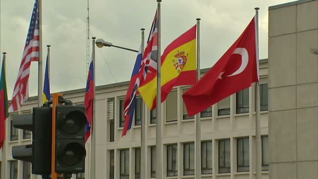 Exterior shots of NATO Headquarters in Brussels with flags of member states flying outside>> on October 08 2015 in Brussels Belgium