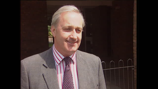 Exterior shots of Neil Hamilton speaking to press on July 4 1997 in London England