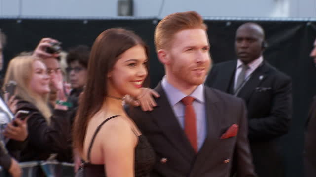 Exterior shots of Neil Jones posing for photos on the red carpet at the premiere of Deepwater Horizon at Leicester Square on September 26 2016 in...