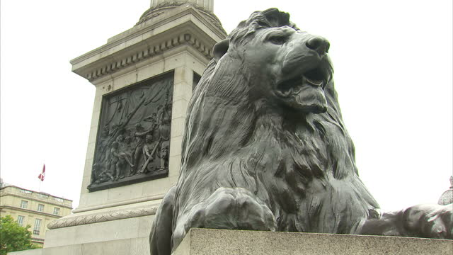 exterior shots of nelson's column in trafalgar square including close up shots of one of the bronze lions at the base of the monument and a bronze... - admiral nelson stock videos and b-roll footage