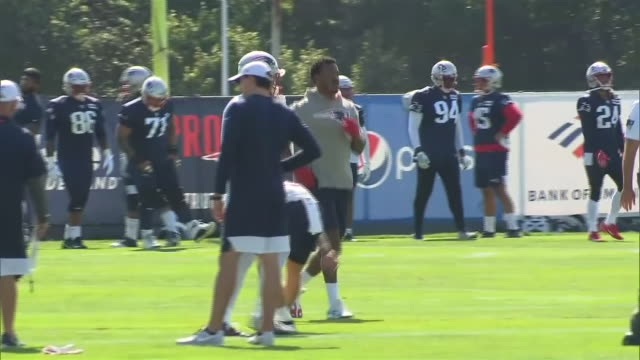 exterior shots of new england patriots training at the practice fields next to gillete stadium in foxborough, massachusetts on july 25th 2019. - practicing stock videos & royalty-free footage