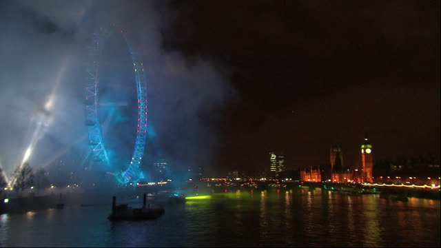 exterior shots of new year's eve fireworks display in london on 1st january 2013 in london, united kingdom - firework display stock videos & royalty-free footage