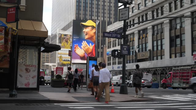 NY: General shots of New York with picture of Emma Raducanu on giant billboard after her win in US Open