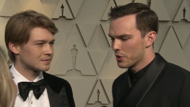 Exterior shots of Nicholas Hoult and Joe Alwyn interview on the red carpet of the 91st Academy Award on 24th February 2019 in Los Angeles United...