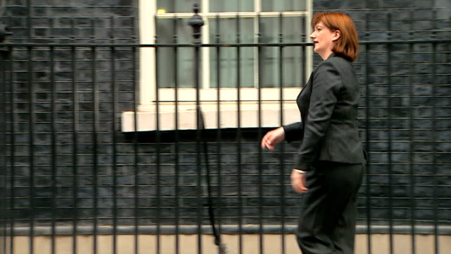 exterior shots of nicky morgan mp, secretary of state for education arriving at number 10, downing street on may 11, 2015 in downing street, london,... - mp stock-videos und b-roll-filmmaterial