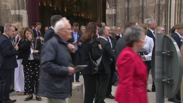exterior shots of nicola sturgeon departing from cathedral of bayeux after ceremony commemorating the 75th anniversary of the dday landings on 06... - d day stock-videos und b-roll-filmmaterial