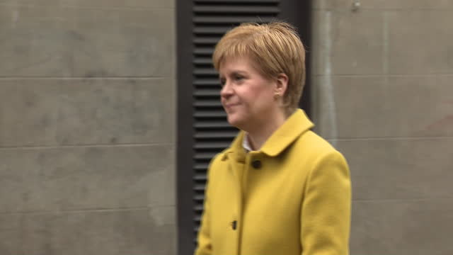 exterior shots of nicola sturgeon, first minister for scotland, arriving at a polling station and chatting with various members of the public during... - scottish culture stock videos & royalty-free footage