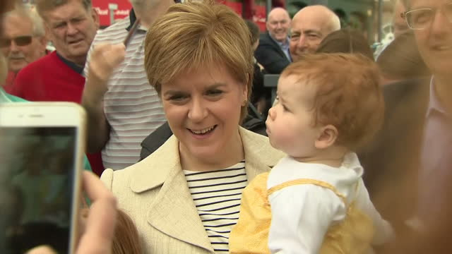 Exterior shots of Nicola Sturgeon SNP leader meeting the public whilst campaigning on 3 June 2017 in Mull United Kingdom