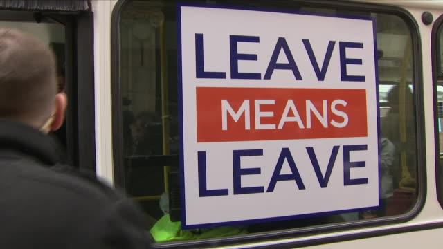 exterior shots of nigel farage departing on brexit betrayal bus on the 22nd september 2018 in bolton united kingdom - 英国独立党点の映像素材/bロール