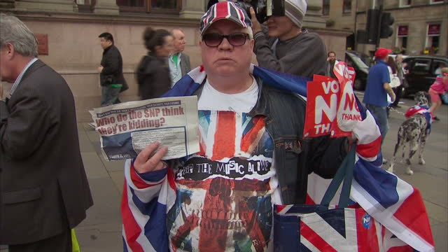 Exterior shots of No vote supporters protesting at Yes vote rally on September 17 2014 in Edinburgh Scotland